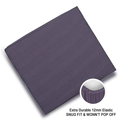 Angel Linen Luxery 320TC Long Staple Egyptian Cotton Damask Stripes Sateen Fitted Sheet use for House & Hotels Fitted Sheet with all Around 12 mm Elastics .Deep Pocket Fit Upto 18