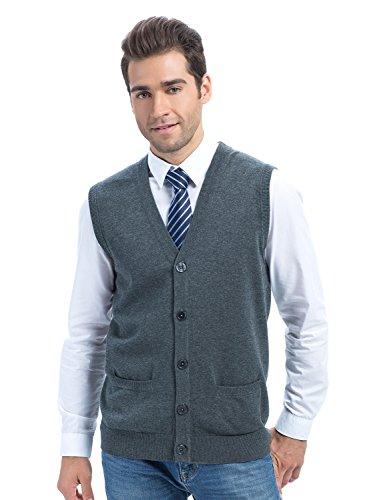 Choies Men's Dark Gray Slim Fit Casual V-neck Button Down Pocket Cotton Knit Sweater Vest L