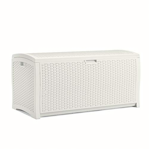 Suncast 99 Gallon Resin Wicker Patio Storage Box – Waterproof Outdoor Storage Container for Toys, Furniture, Yard Tools – Store Items on Deck, Porch, Backyard – White (Renewed)