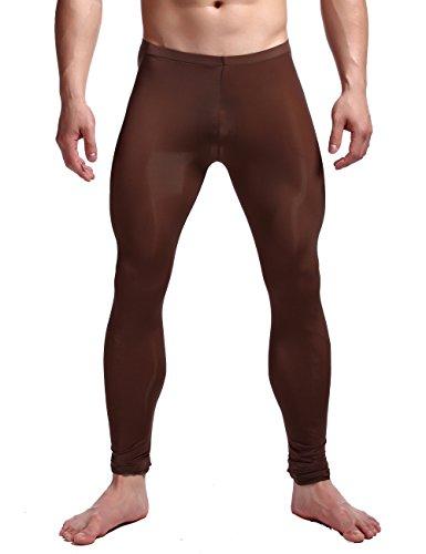 K-Men Men's Plus Size Brown Underwear Low Rise Long Johns Thermal Trousers XXL