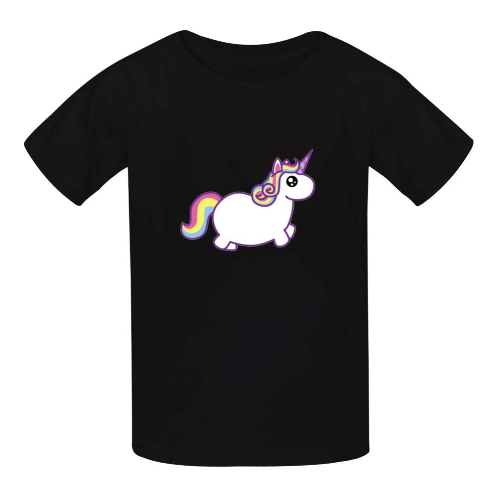 Super Cute Rainbow Unicorn Boys Summer Slim Fit Pure Color Short Sleeve Casual T-Shirts