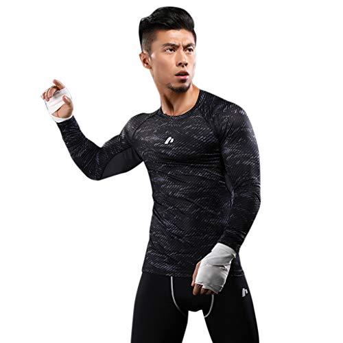 Men's Athletic Base Layer Crewneck Long-Sleeve Dri Fit Compression Shirt Sport Running Shapewear Vest Tummy Control Top