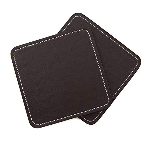 Square Dark Brown Leather Coasters Set of 4