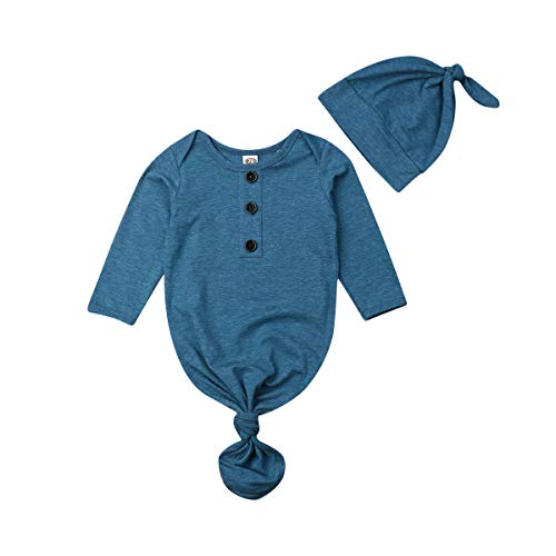 - Baby Nightgown Unisex Newborn Boy Girl Sleeper Gowns Stripe Sleeping Bags Swaddle Sack Coming Home Outfit 0-12M(0-3 Months,Blue)