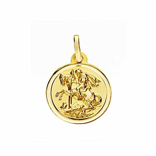 Médaille pendentif San Jorge de l'or 16mm 18k. lunette lisse [AA2656GR] - personnalisable - ENREGISTREMENT inclus dans le prix