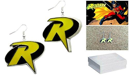 DC+Comics Products : DC Comics Silver-tone Robin Color Logo (Batman) Movie/TV Theme Charm Dangle Earrings W/Gift Box