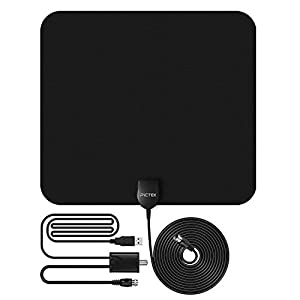 US Stock 50 Miles TV Antenna 25dBi US F Male Plug Indoor Home Digital HDTV TV Antenna + Amplifier Signal Booster