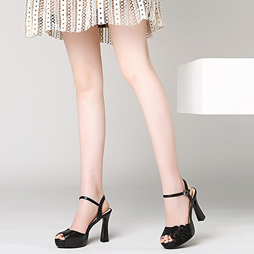 ZHIRONG Size Shoes Mouth CN38 Color Toe 5 Summer Waterproof Thick Fish Rhinestone Shoes UK5 Sandals Silver Heel EU38 Open Roman Platform Women's Heel High Black 10CM dqfaOF