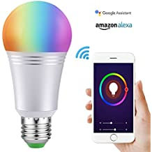 Smart Led Light Bulb, Wi-Fi Smart Bulbs 6000K Dimmable Color Changing Smartphone Controlled Daylight White Night Light, No Hub Required, Works with Amazon Echo Alexa Google Home (E27)