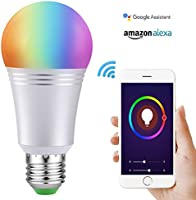 Wifi Smart Bulb Colour Dimmable LED Light 60W Equivalent Bulb 650 LM, Remote Control by Smart Device and Voice Control by Amazon Alexa & Google Home No Hub Required (Cool Daylight White 7W 6000K E27)