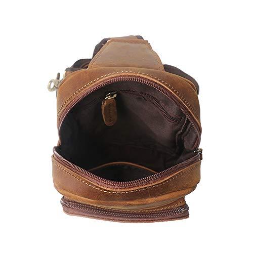 Brown Genuine Messenger For Travel Dark Vintage Sling School Pack color Bag Crossbody Daypack Leather Shoulder Men's Brown Hiking Chest qTw4Y15