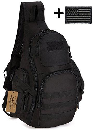 ArcEnCiel Tactical Sling Pack Backpack Military Shoulder Chest Bag with Patch (Black)