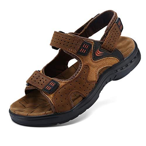 GordonKo Genuine Leather Men Sandals Massage Function Arch Support Wear Resistant Summer Hiking Sports Sandal (Shoe Mens Cc Cushion Running)
