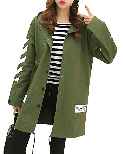 Single e Coa Longue Trench Manche Veste Jacket Breasted Femme Arm Vert Longue Hoodie Longue 0xqSWOg