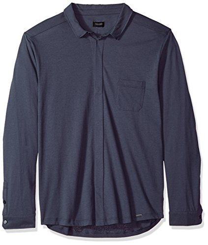 HANRO Men's River Long Sleeve Button Front Shirt, Lava Rock, Small ()