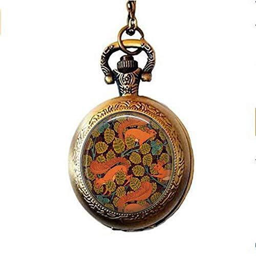 Art Nouveau Watch - Squirrels in Autumn- Art Nouveau Jewelry - Squirrels Pocket Watch Necklace- Squirrel Pocket Watch Necklace- Wildlife Lover