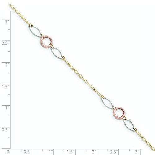 """Tri-color cercle 14 carats et ovale avec extraits de cheville JewelryWeb 1 """""""