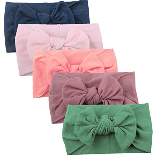 (NUWFOR Girls Baby Toddler Turban Solid Headband Hair Band Bow 5PCS Accessories Headwear(D,Free Size))
