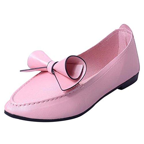 Binying Women's Bowknot Pointed Toe Flat Pumps Pink ZqZZmRyX