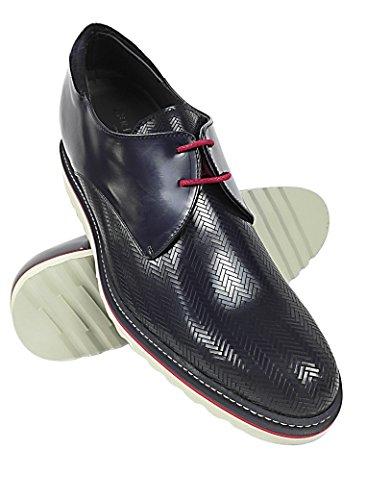 ZERIMAR Zapatos con alzas interiores para caballeros Aumento + 7 Cm ¡OFERTA ESPECIAL 75 ANIVERSARIO! ¡OFERTA ESPECIAL 75 ANIVERSARIO! Zapato fabricado en piel vacuna de alta calidad Color azul marino azul marino