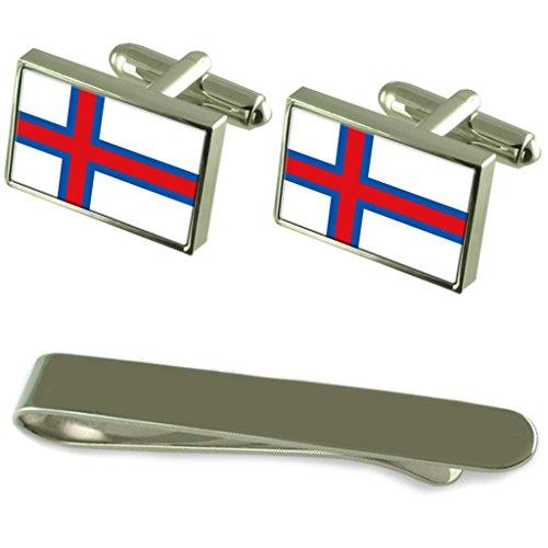 Le Faröes manchette argent drapeau un Ensemble cadeau Cravate