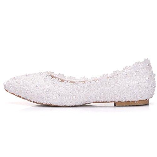 Zapatos Blanco De Ballets Flower Boda De Ager Estrecha Boda Mujeres Encaje De Fiesta 01WL De Zapatos De Vestir Pisos Zapatos De Punta Zapatos White Pisos FFxaw8CqW