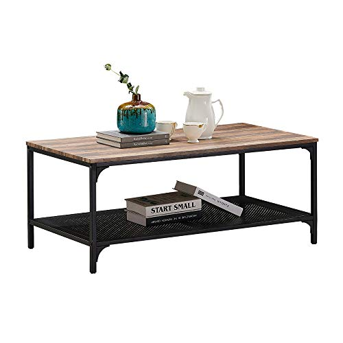 - HOMYSHOPY Industrial Coffee Table, Rectangular Cocktail Table with Metal Storage Shelf for Living Room, Vintage Brown