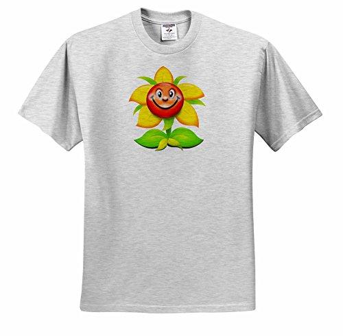 Spiritual Awakenings Cartoons - A very happy Sunflower smiling at the world and you - T-Shirts - Adult Birch-Gray-T-Shirt Medium (ts_245366_19)