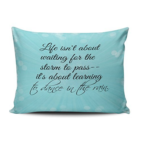 (Salleing Custom Plain Unique Aqua Mint Turquoise Life isn't About Waiting for the Staim to Pass Decorative Pillowcase Pillowslip Throw Pillow Case Cover Zippered One Side Printed 12x16 Inches)