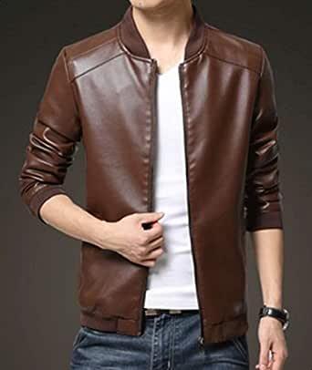 Men Casual Fashion Jacket pu Leather baseball collar Zip Up Jacket Coat -XL size