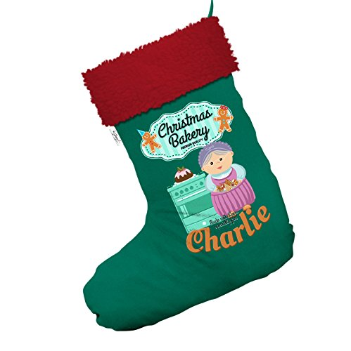 Christmas Bakery Grandma's Gingerbread Cookies Personalised Jumbo Green Deluxe Christmas Stocking With Red Trim -