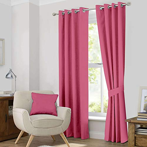 Ample Decor Thermal Insulated Blackout Grommet Window Curtain for Living Room, Modern Premium Quality Blackout Curtains with Tie Backs, Window Treatment Set of 2- (Pink, 46 X 84 Inch)