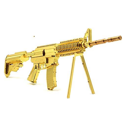 Microworld 2016 3D Metal Puzzle 21CM M4A8 Carbine Gun Weapon Building Model G001-G DIY 3D Laser Cut Assemble Jigsaw Toys - Gold