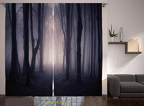 Living Room Bedroom Window Drapes/Rod Pocket Curtain Panel Satin Curtains/2 Curtain Panels/55 x 39 Inch/Farm House Decor,Path Through Dark Deep in Forest with Fog Halloween Creepy Twisted Branches -