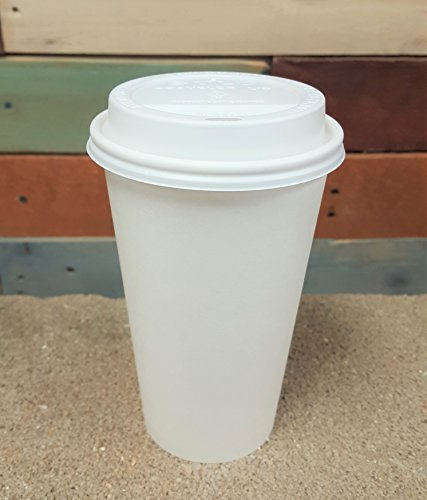 100 Sets 16 oz Paper Coffee Cup Solo Disposable White Hot Cup with Cappuccino (Cup Including Lid)