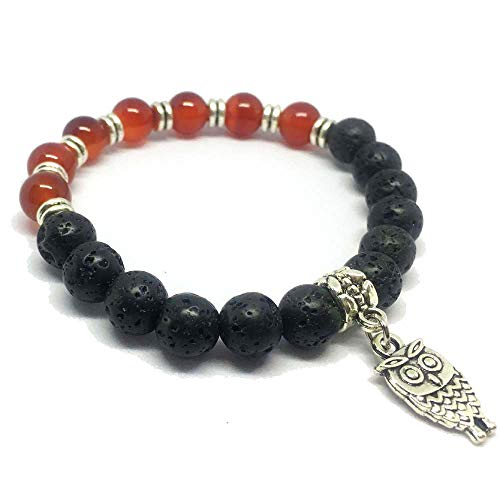 SEY 8mm Lava Bracelet with Red Agate and Birds Diffuser Essential for Women Girls Gift (I I Bracelet Am Am What)