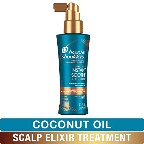 Dry Scalp Relief - Head and Shoulders Scalp Elixir Treatment, Anti Dandruff, Royal Oils Collection with Coconut Oil, for Natural and Curly Hair, 4.2 fl oz