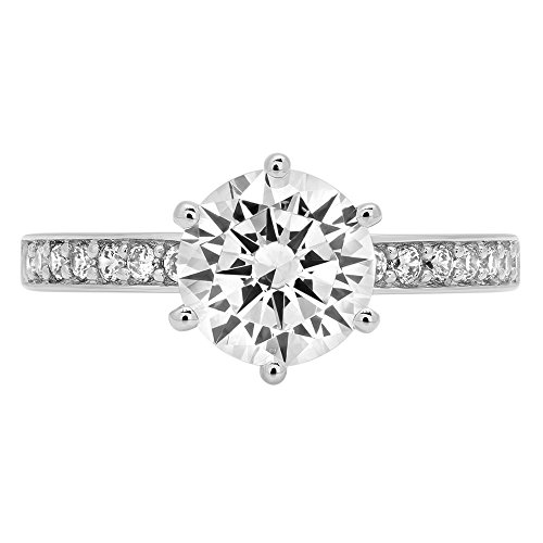 1.86ct Brilliant Round Cut Designer Accent Solitaire Promise Anniversary Statement Engagement Wedding Bridal Ring For Women Solid 14k White Gold, 6.25 by Clara Pucci