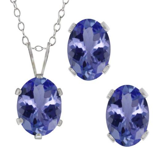 Gem Stone King 2.66 Ct Oval Blue Tanzanite Gemstone Sterling Silver Pendant Earrings Set