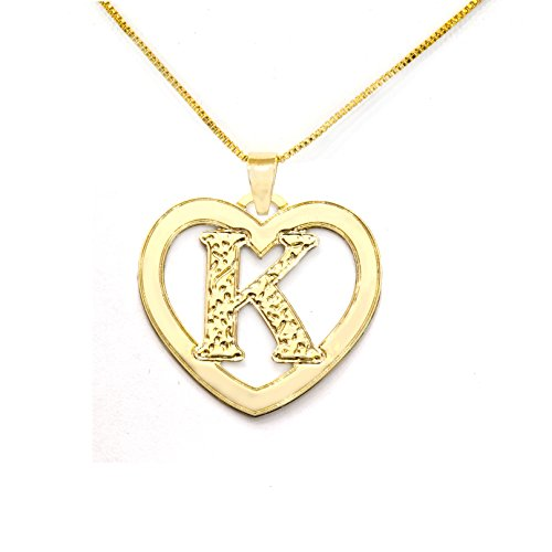 (Matanel Stuning 24k Gold Plated Initial Pendant Necklace Personalized Heart Charm ... (K))