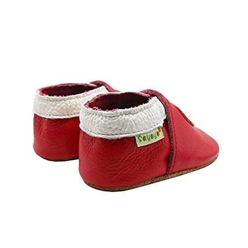 Sayoyo Suaves Zapatos De Cuero Del Bebé Zapatillas fresa rojo