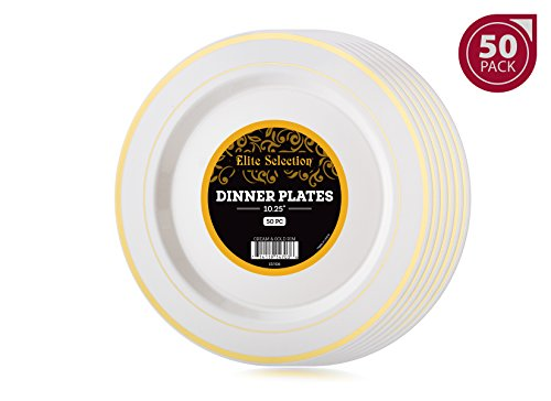 Elite Selection Pack of 50 Dinner Disposable Plastic Party Plates Ivory Cream Color With Gold Rim (Gold Rim Dinner)