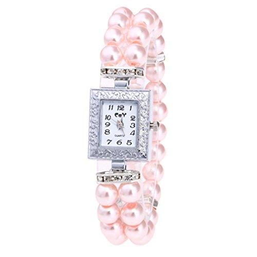 Women Watch Band Fheaven,Fashion Casual Pearl String Watch Strap Quartz Wrist Square Watch (Pink)