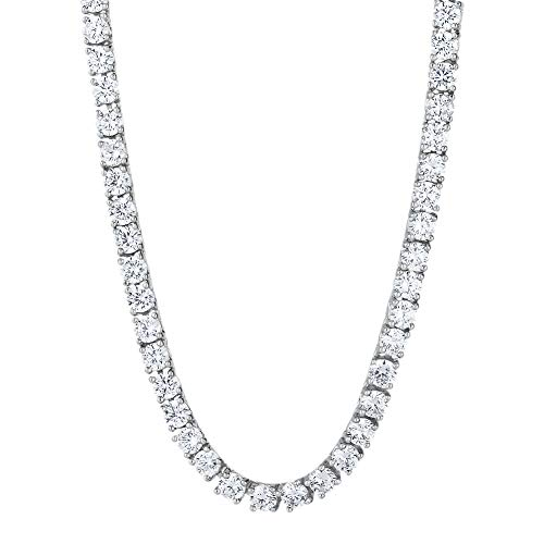 KRKC&CO 4mm White Gold Tennis Chain CZ Stoned Hip Hop Necklace Iced Out Tennis Chain for Men Party Band Rapper Urban Styles 20-24inches ()