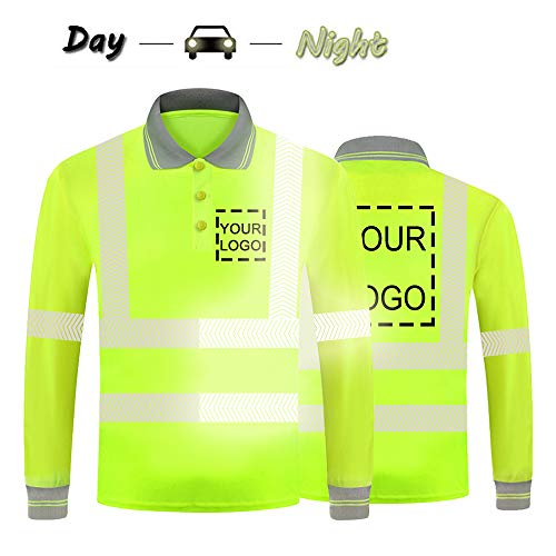 Hi Vis Safety T Shirt With Reflective Strips Customize Your Logo High Visibility Long Sleeve Polo Tee (X-Large, Neon Yellow - Style 6)