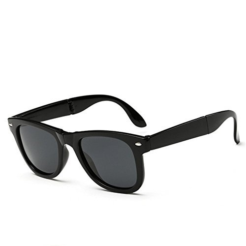 A-Royal Mens Fashion Cool Polarized Foldable Wayfarer - Gun Top Costume Guy