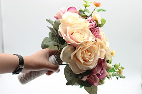 Yokoke Wedding Bridal Bridesmaid Bouquet Wedding Holding Flower Artificial Peony Rose Green Succulent for Wedding Church Party Home Decor