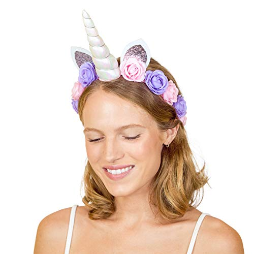 xo, Fetti Unicorn Horn Flower Crown Headband - Child + Adult | Halloween, Unicorn Party Supplies + Unicorn Present Girl