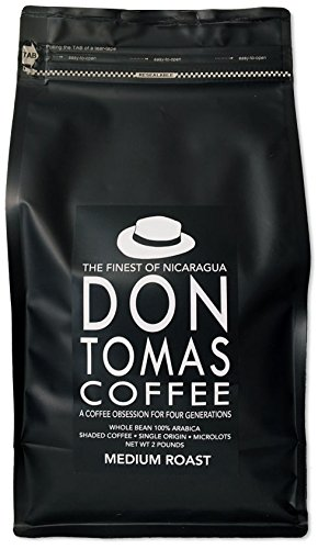 2 LB Medium Don Tomas Nicaraguan Coffee - Whole Coffee Beans - Rainforest Alliance Certified Farm (NEW 2017 Harvest)