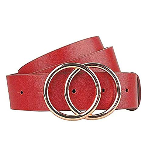 Gackoko Women Leather Belt for Dress & Jeans Fashion Soft Leather with Double O-Ring Buckle (L:fits Waist from 31